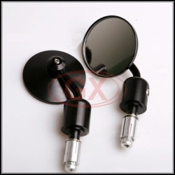 Black Round Bar End Mirror